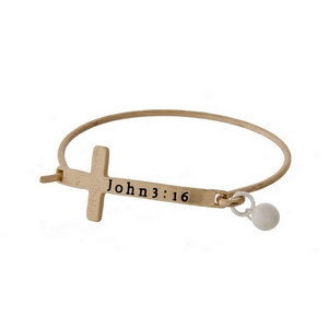 Matte gold tone hinged bangle bracelet with a cross focal, stamped with John 3:16 and a freshwater pearl bead.