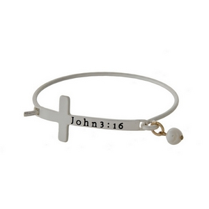 Matte silver tone hinged bangle bracelet with a cross focal, stamped with John 3:16 and a freshwater pearl bead.