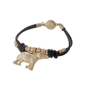Brown, genuine leather magnetic bracelet with hammered gold tone beads and an elephant charm.