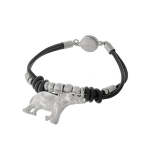 Black, genuine leather magnetic bracelet with hammered silver tone beads and an elephant charm.