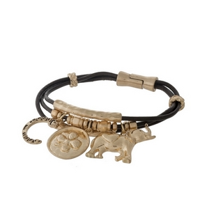 Brown, genuine leather magnetic bracelet with gold tone elephant, clover, and horseshoe charms.