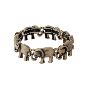 Burnished gold tone elephant stretch bracelet.