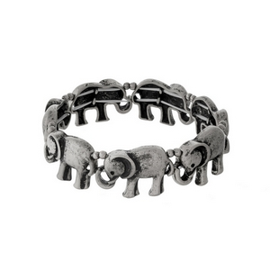 Silver tone stretch bracelet with elephant decor.