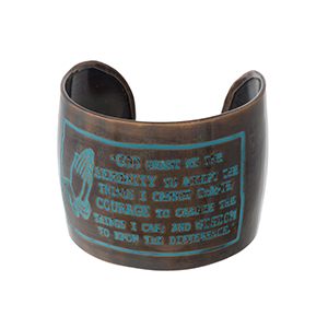 """Handmade, patina and copper tone cuff bracelet stamped with The Serenity Prayer. Approximately 2"""" in width."""