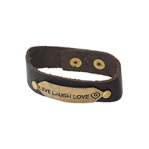 "Brown, genuine leather snap bracelet with a gold tone bar, stamped with ""Live Laugh Love."""