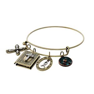 Burnished gold tone adjustable bangle bracelet with cross charms.