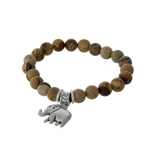Picture jasper natural stone beaded stretch bracelet with a silver tone elephant charm.