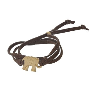 Brown, faux suede bracelet with a gold tone elephant.