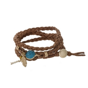 Brown braided cord, wrap bracelet with a turquoise stone.