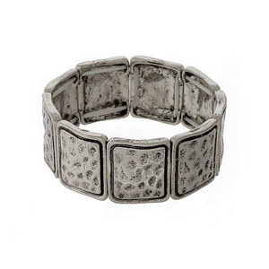 Hammered silver tone stretch bracelet.