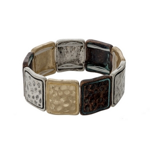Two tone and patina hammered stretch bracelet.