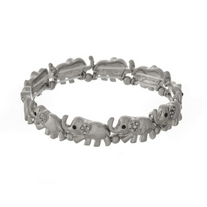 Silver tone elephant stretch bracelet with clear rhinestone accents.