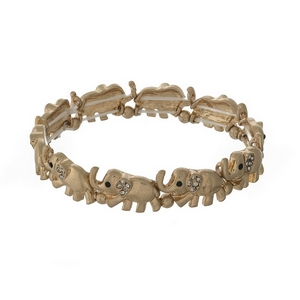 Gold tone elephant stretch bracelet with clear rhinestone accents.