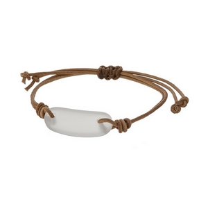 Adjustable brown cord bracelet with a clear stone.