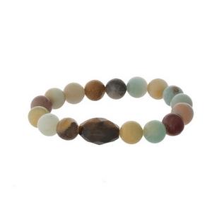 Amazonite natural stone stretch bracelet.