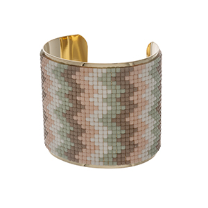 "Gold tone cuff bracelet with white, taupe, mint and peach beads. Approximately 2.5"" in width."