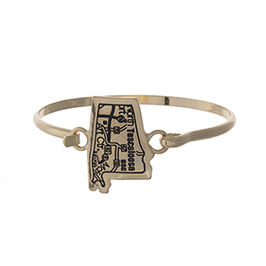 Gold tone bangle bracelet with the city map of Tuscaloosa, Alabama stamped on the state shape.