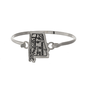 Silver tone bangle bracelet with the city map of Tuscaloosa, Alabama stamped on the state shape.