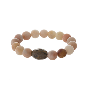 Peach and mauve natural stone stretch bracelet.