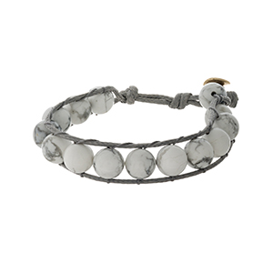 Gray cord bracelet with howlite, natural stone beads and a button closure.