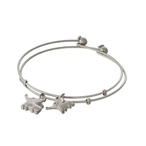 "Two piece bangle bracelet set for a ""Mother & Daughter"" with two elephant charms."