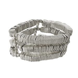 Silver tone, three row stretch bracelet.