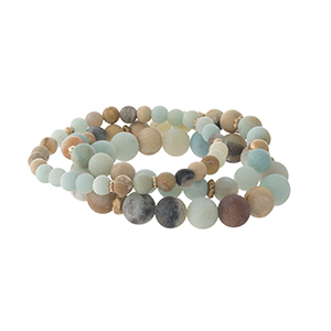 Three piece amazonite, natural stone, beaded bracelet set.