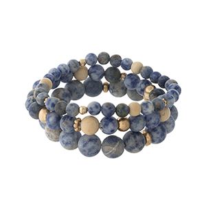 Three piece sodalite, natural stone, beaded bracelet set.
