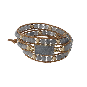 Gray beaded wrap bracelet with a druzy stone focal and a button closure.