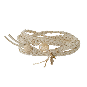Ivory braided cord wrap bracelet with a gold tone button closure.