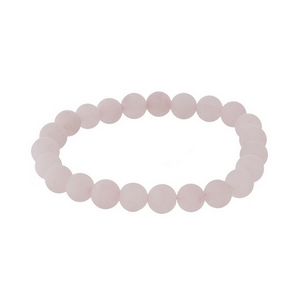 Rose quartz natural stone beaded bracelet with a matte finish.