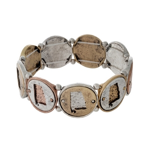 Silver, gold, and copper tone stretch bracelet with Alabama cutouts.