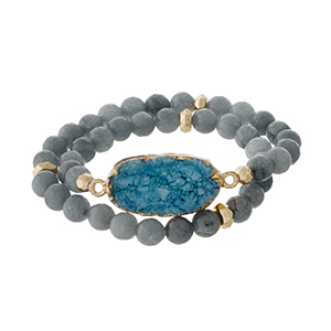 Gray natural stone beaded wrap bracelet with gold tone accents and a teal druzy stone focal.