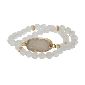 White natural stone beaded wrap bracelet with gold tone accents and a white druzy stone focal.