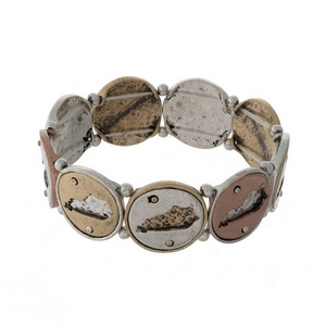 Silver, gold, and copper tone stretch bracelet with Kentucky cutouts.