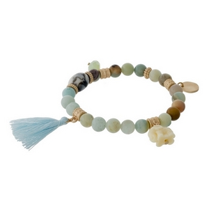 Amazonite natural stone beaded stretch bracelet with a mint tassel, gold tone accents and an elephant charm.