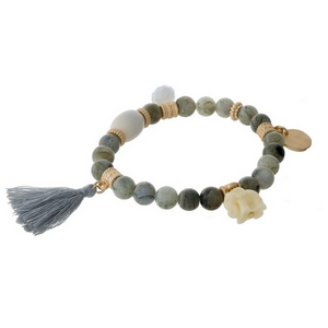 Labradorite natural stone beaded stretch bracelet with a gray tassel, gold tone accents and an elephant charm.