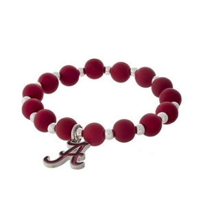Officially licensed University of Alabama, silver tone beaded stretch bracelet.