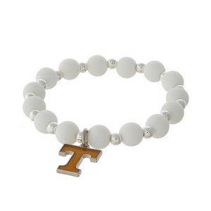 Officially licensed University of Tennessee, silver tone beaded stretch bracelet.