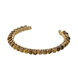 Gold tone cuff bracelet with wire wrapped picture jasper natural stone beads.