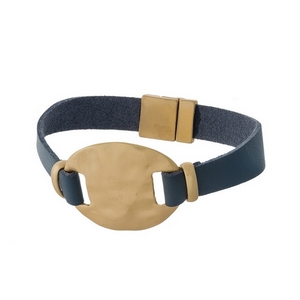 Gray genuine leather magnetic bracelet featuring a matte gold tone circle focal.