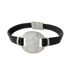 Black genuine leather magnetic bracelet featuring a matte silver tone circle focal.