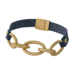 Gray genuine leather magnetic bracelet featuring a matte gold tone link focal.