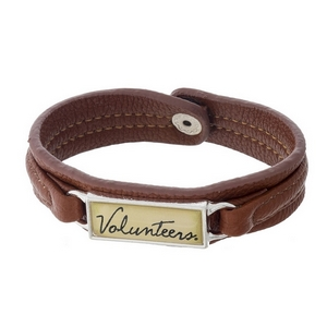 "Officially licensed, University of Tennessee brown faux leather snap bracelet with a silver tone bar saying ""Volunteers."""