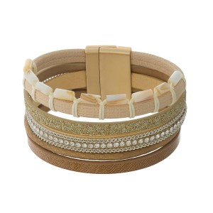 Brown, tan, and beige faux leather magnetic bracelet with ivory beaded accents.