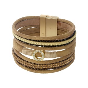 Brown, tan, and beige faux leather magnetic bracelet with a clear rhinestone pave circle accent.