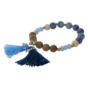 Sodalite natural stone, beaded stretch bracelet with a blue tassel.