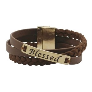 """Brown faux leather magnetic wrap bracelet with a gold tone bar stamped with """"Blessed."""""""