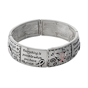 Silver tone, Breast Cancer Awareness stretch bracelet stamped with messages of encouragement.