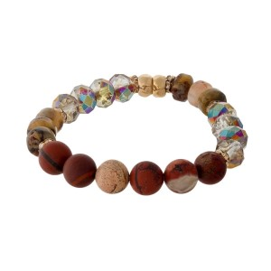 Rust and beige, natural stone beaded stretch bracelet with gold tone accents.